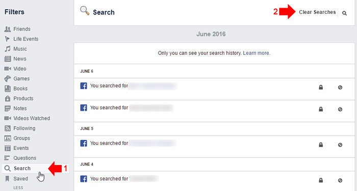 How to clear Facebook Search history 2
