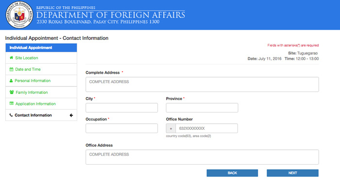 Passport Appointment - Contact Information