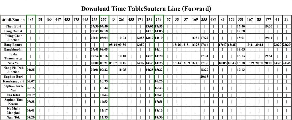 Time Table - Soutern Line(Forward)