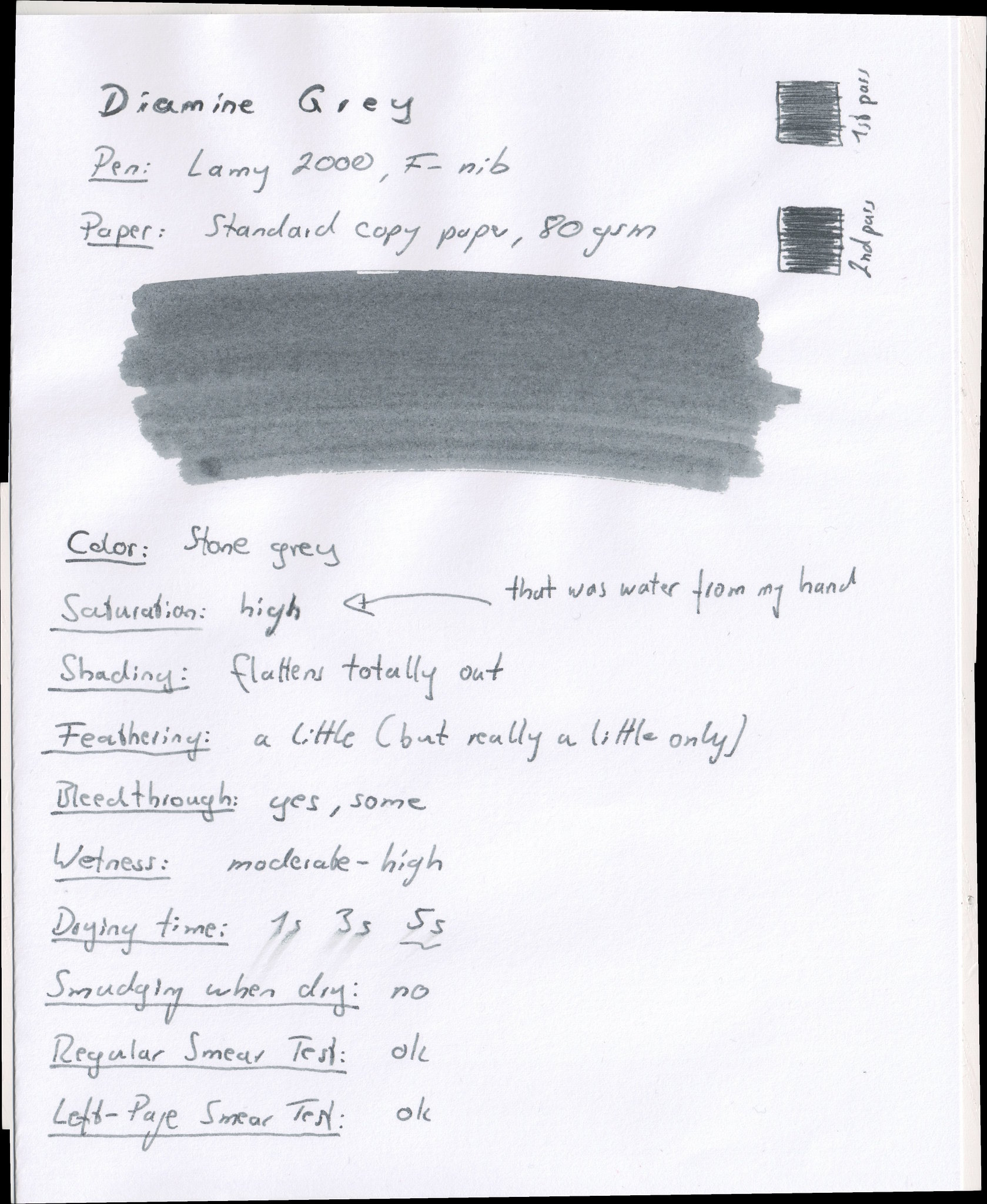 Diamine Grey on Standard Copy Paper