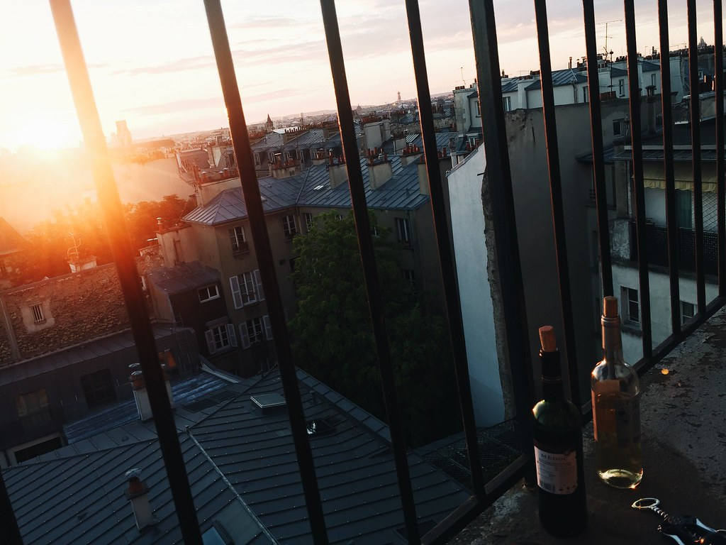 paris staircase wine view
