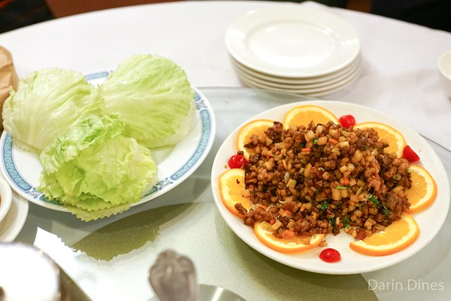 Minced Squab and Chinese Sausage Lettuce Wrap