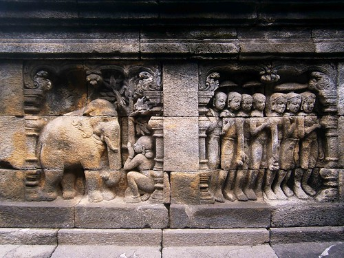 Borobodur Bas Relief Elephant Carving