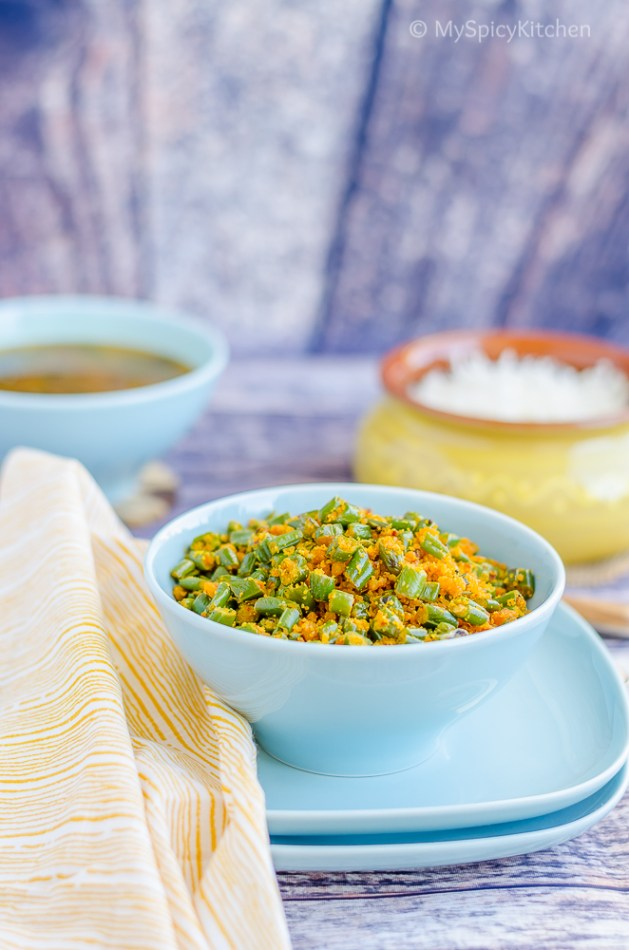 Paruppu Usili or green beans lentils dry curry in a bowl