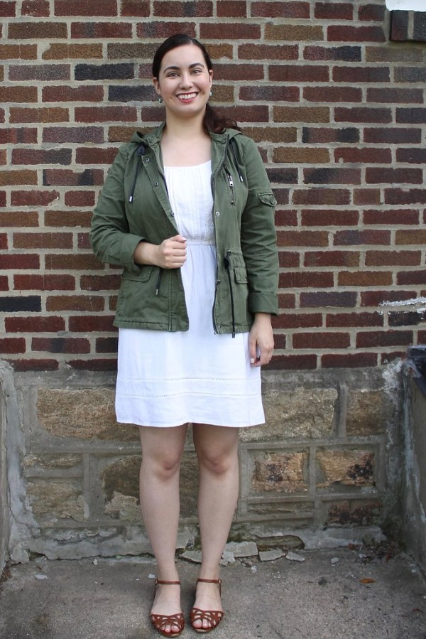 Little White Dress with Utility Jacket | Shades of Sarah