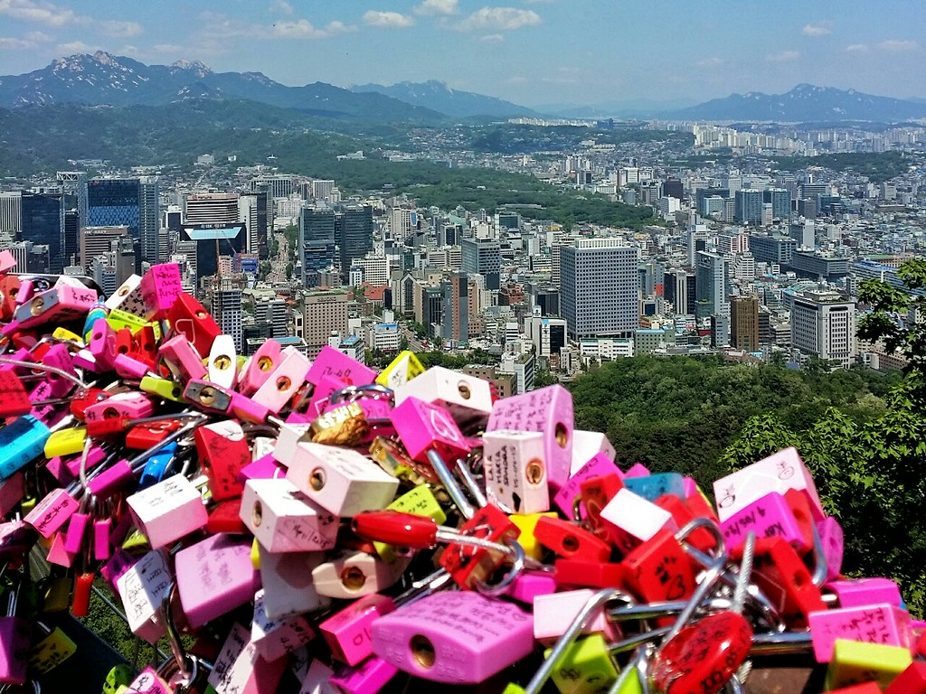 Namsan lovelocks overlooking the buildings of Seoul