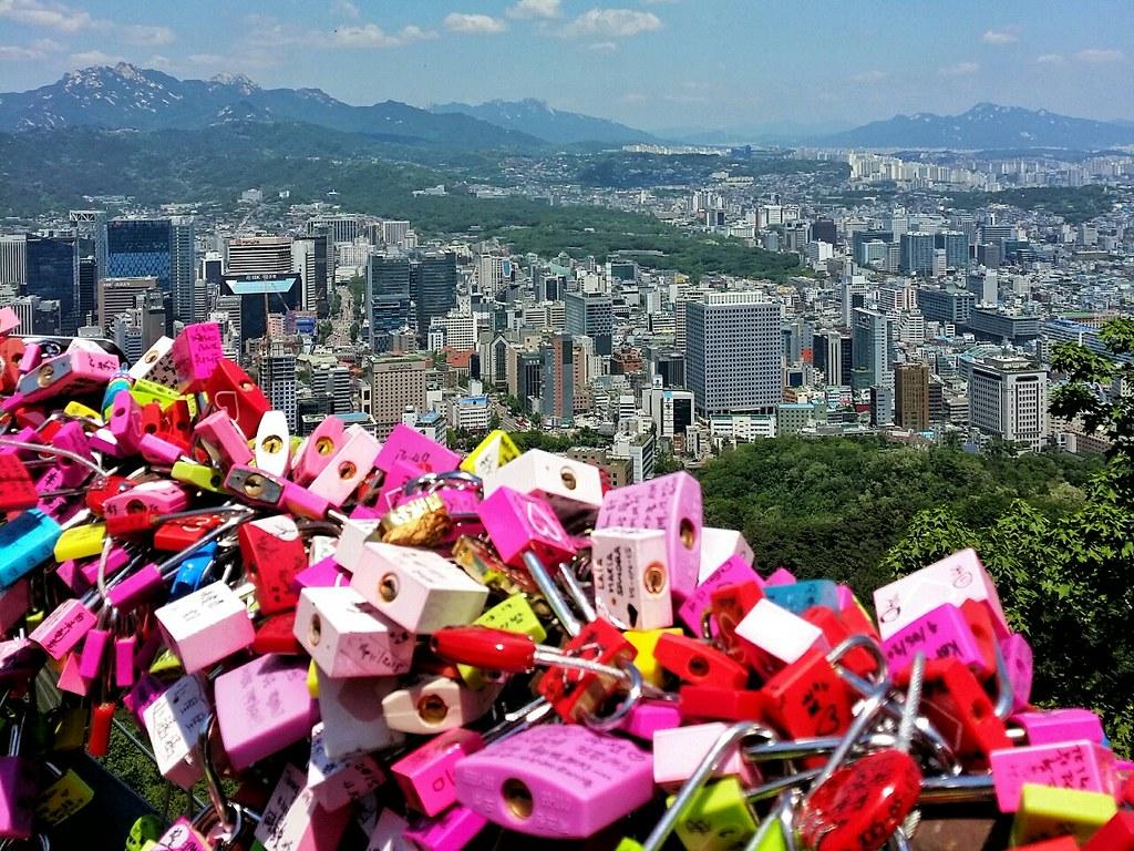 Namsan lovelocks overlooking the buildings of Seoul