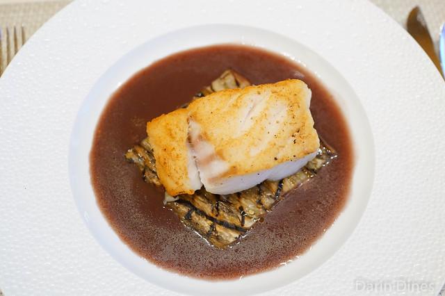 Merluza sauteed merluza, grilled eggplant, herbes de provence-red wine sauce