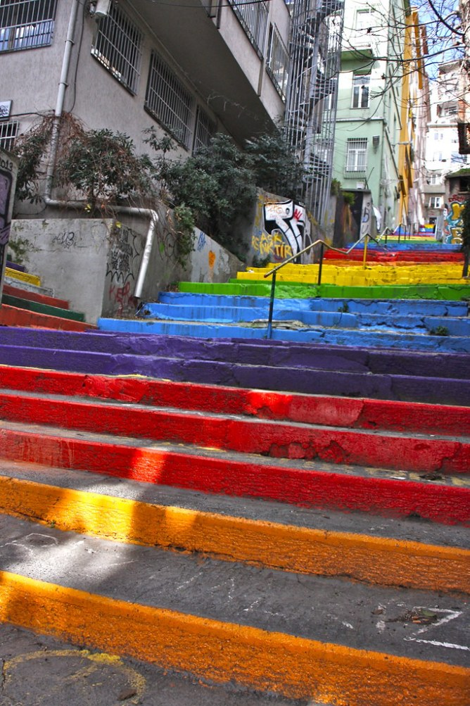 istanbul stairs rainbow
