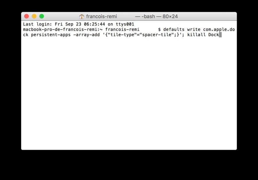 Tuto espaces dans le Dock macOS - ouverture Terminal