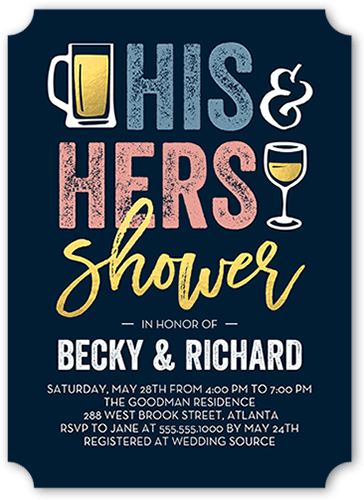 His And Hers Shower 5x7 Bridal Shower Invitations Shutterfly