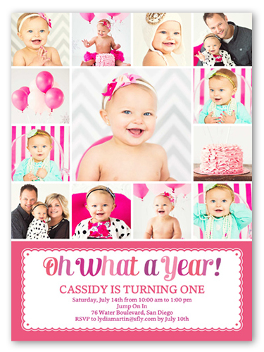 what a year girl first birthday invitation shutterfly