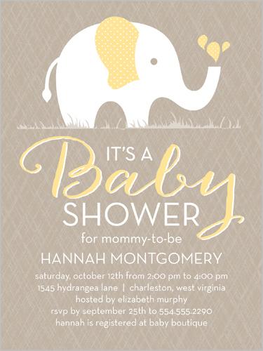 Patterned Elephant 4x5 Custom Baby Shower Invitations