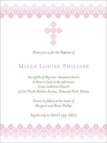 Filigree Cross Rose 4x5 Invitation Baptism Invitations