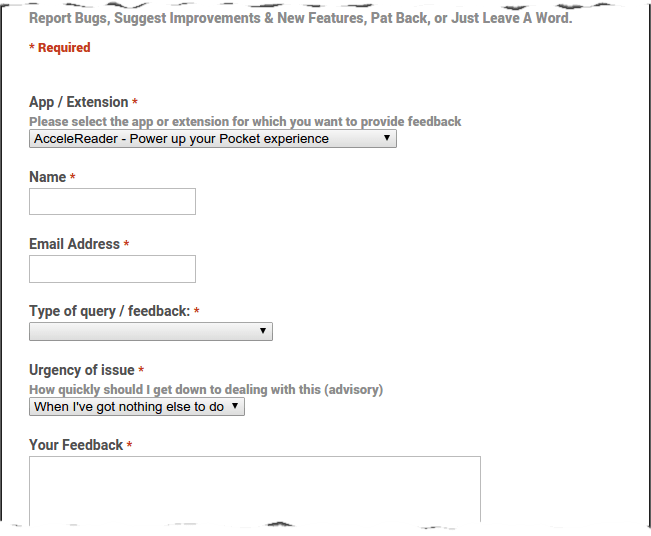 Chrome apps' feedback form