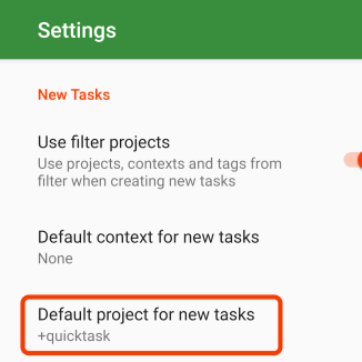 Set up +quicktask as default project for new tasks