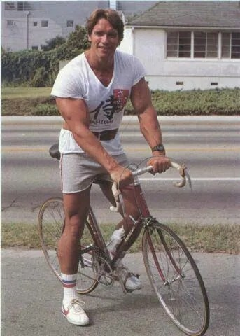 Arnold Schwarzenegger Riding A Road Bike