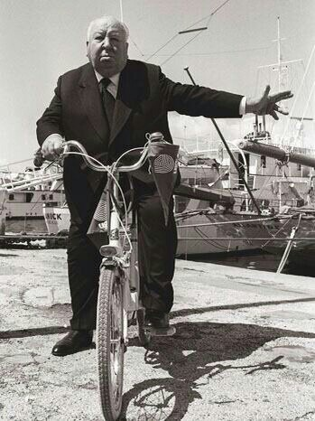 Alfred Hitchcock On A Bike