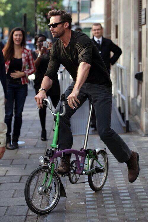 Hugh Jackman on a Brompton