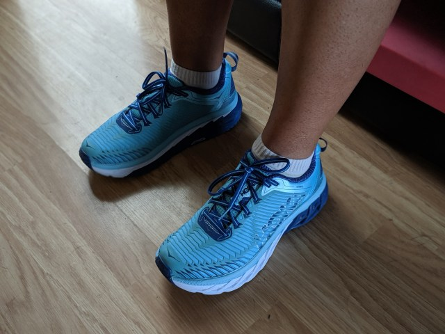 R's new Hoka shoes. She's been refusing to take them off... inside the house!