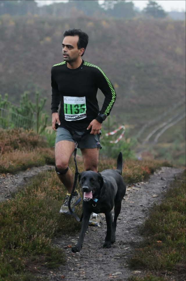 Trail race with the boy in the downs near Ash Vale—Wildman, Nov 2014