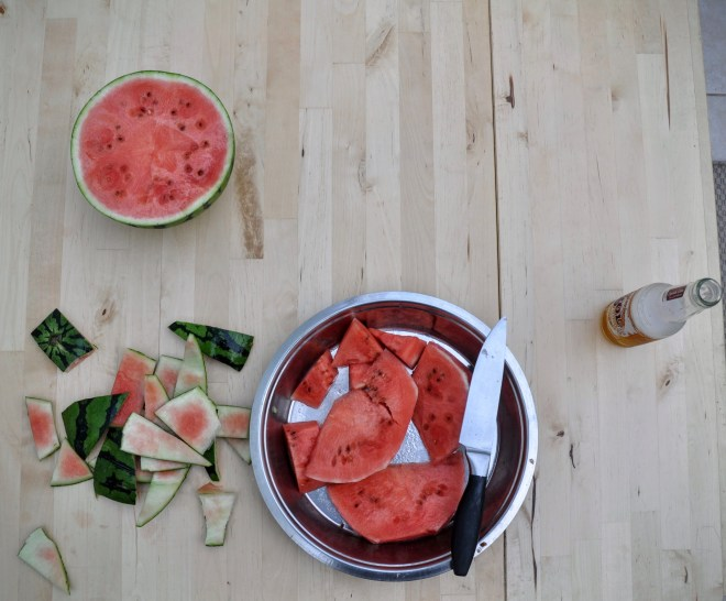 Evening of cutting, and eating, summer's first watermelon