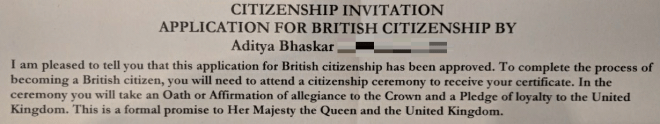British citizenship application approved