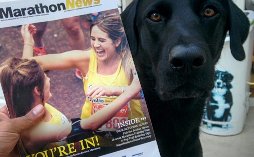"""Chewie with London Marathon Ballot """"You're In!"""" magazine :D"""