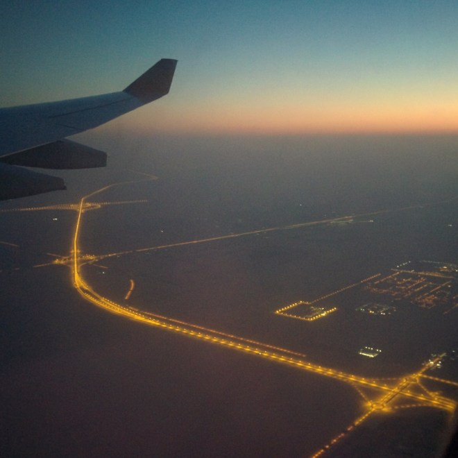 Dawn over Abu Dhabi, on the way back
