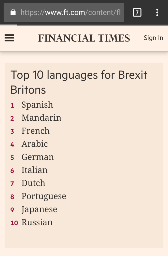Top 10 languages for Brexit Britain