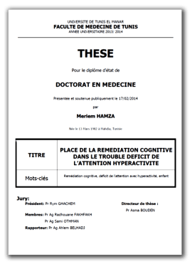thèse doctorat Meriem Hamza : Place de la remédiation cognitive dans le trouble déficit de l'attention hyperactive""