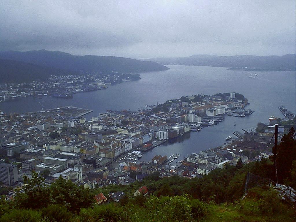 vistas de Bergen desde monte Floyen Noruega 03