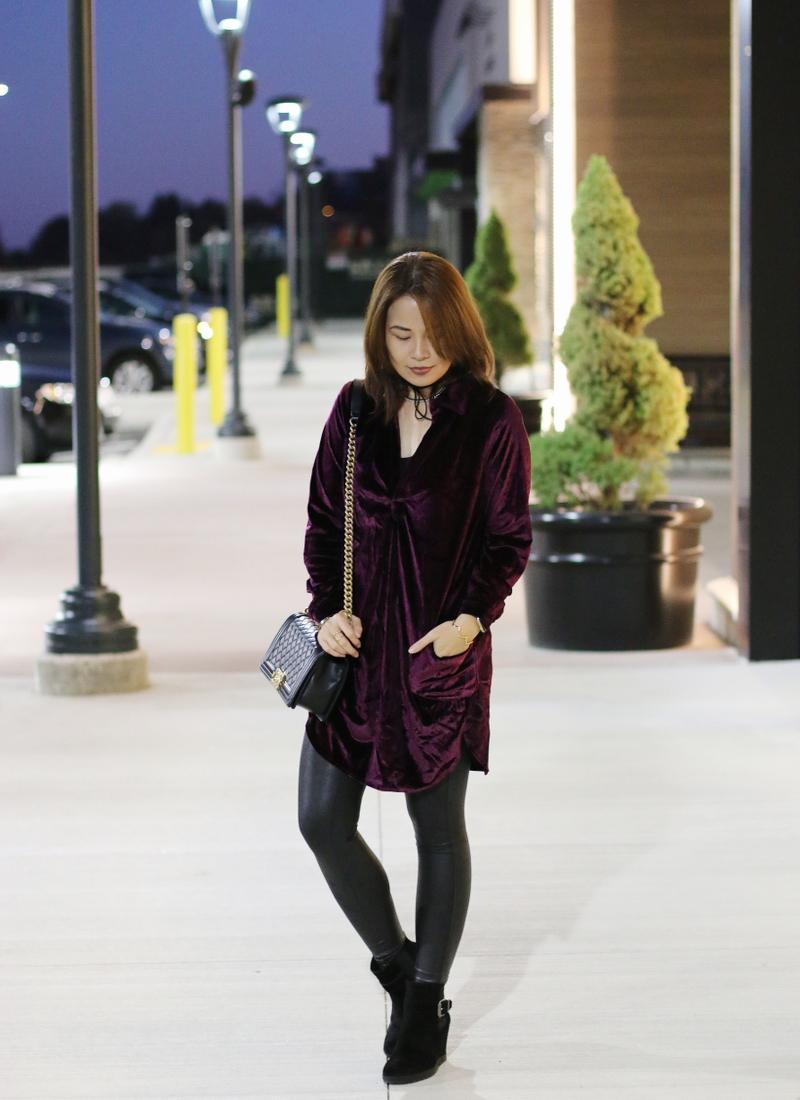velvet-dress-chanel-boy-bag-faux-leather-leggings-1