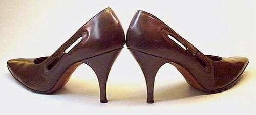 """""""JULIUS GARFINKLE"""" brown leather pumps heels"""
