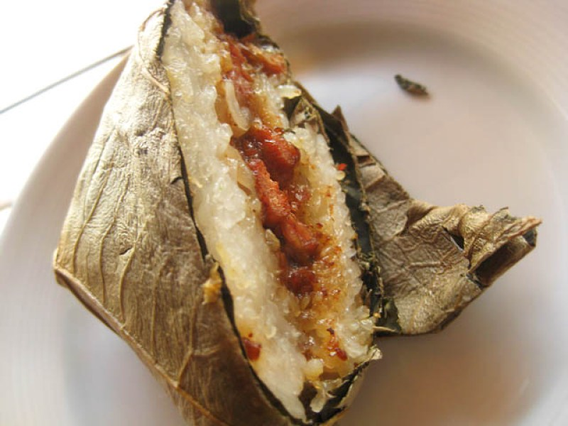 13 Lo mai gai - steamed chicken and sticky rice in lotus wrap