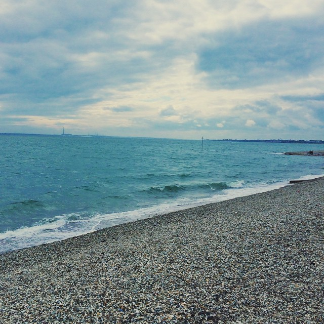 A little post-barbecue stroll along the beach at Lee on Solent. Barbecue in the rain and then a walk under gloomy skies; all very British.... {#leeonsolent #hampshire #beach #greyskies #walk}