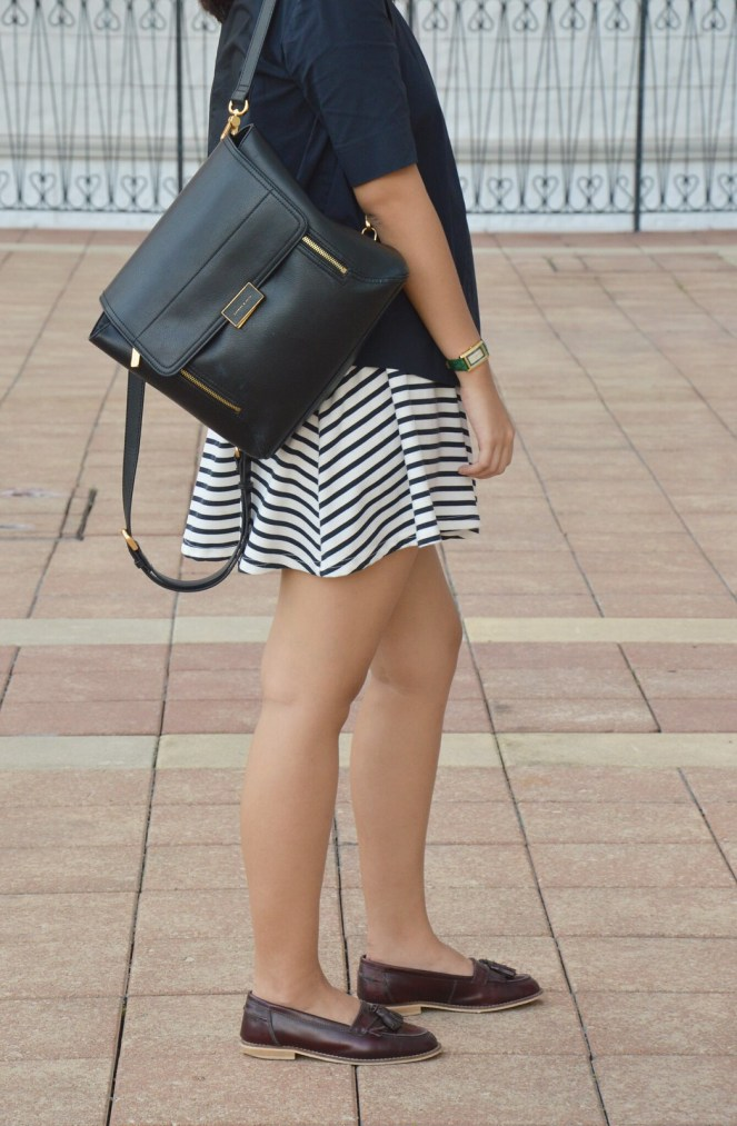 Striped skirt, charles & keith black leather back pack, asos tassel loafers, gucci watch