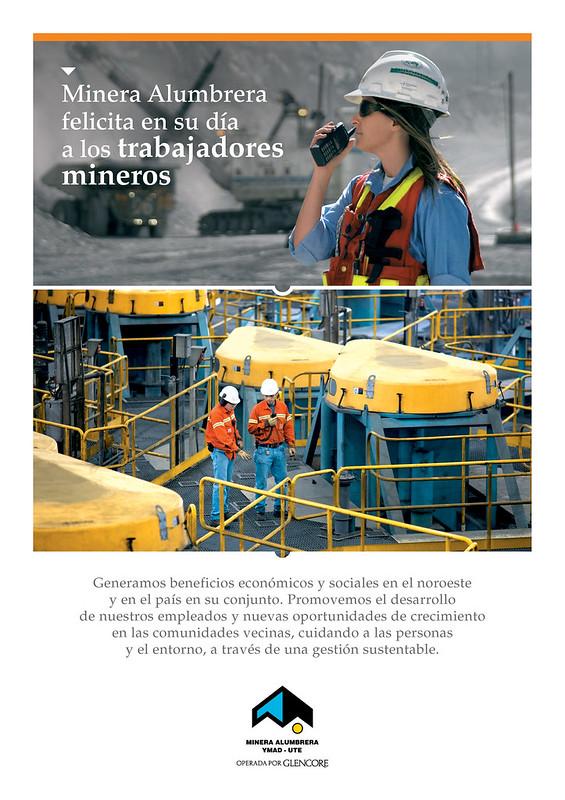 Minera Alumbrera felicita en su día a los trabajadores mineros.