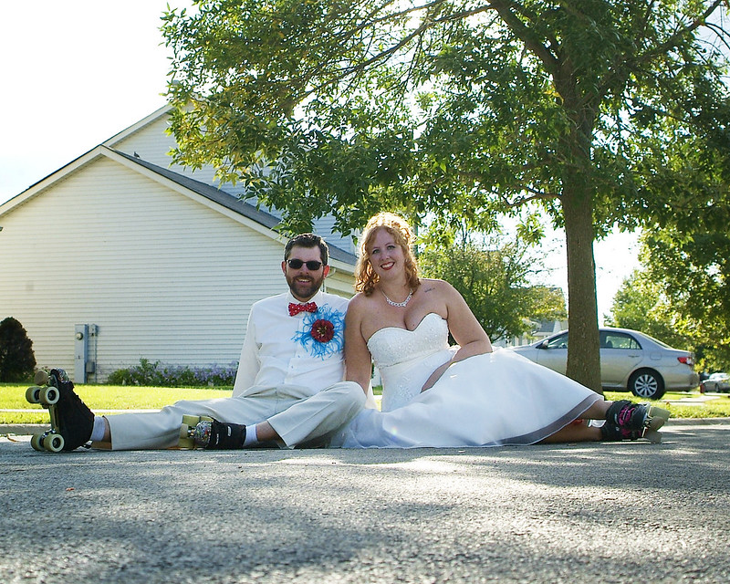 Dr. Seuss meets roller derby at Kelly & Matt\'s backyard wedding ...