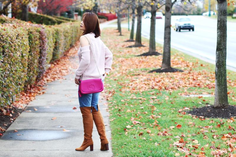 cold-shoulder-pink-sweater-gucci-bag-otk-2