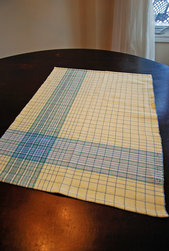 Handwoven asymmetrical plaid cotton towel