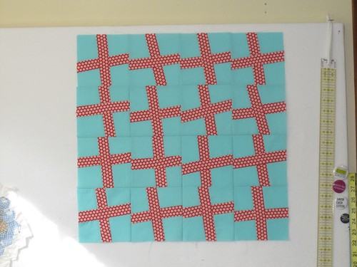 wonky cross blocks pillow top
