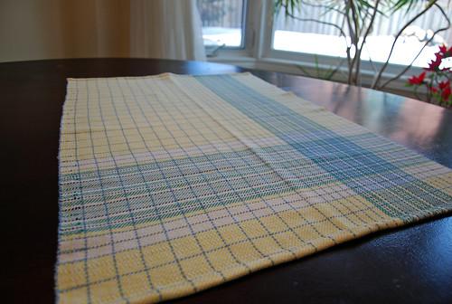 Handwoven asymmetrical plaid cotton towel