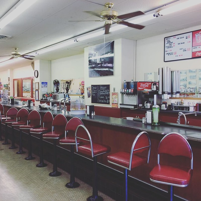 Spent the afternoon catching up on family stories and eating coconut cream pie at the drug store, Independence, Kansas - the tea break project solo travel blog