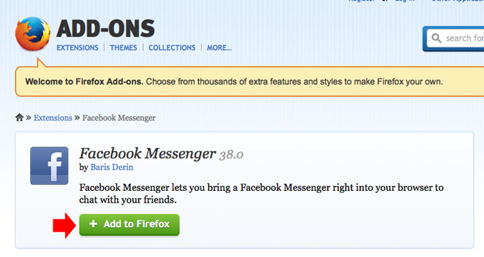 Add FB Messenger to Firefox step 1