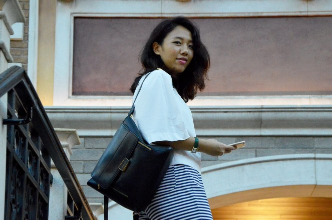 Macau, The Venetian Macau, outfit, travel, charles and keith backpack, striped culottes