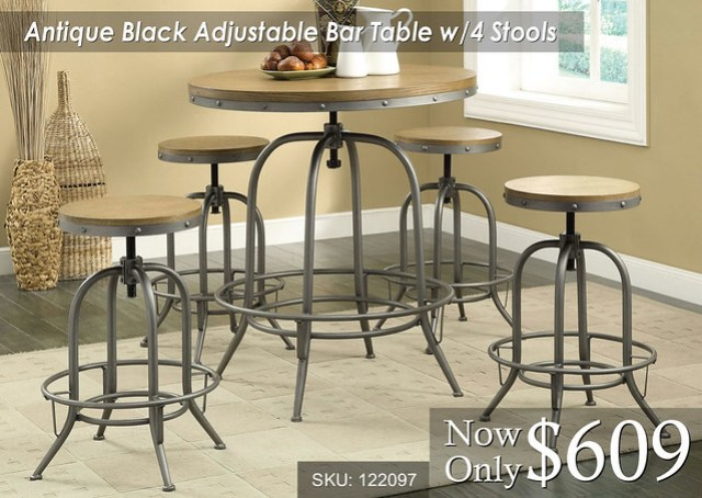 Antique Black Adjustable Bar Table with 4 Stools