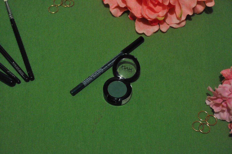 NYX Kush Eyeshadow and Tropical Green Extreme Shine Eye Liner Review