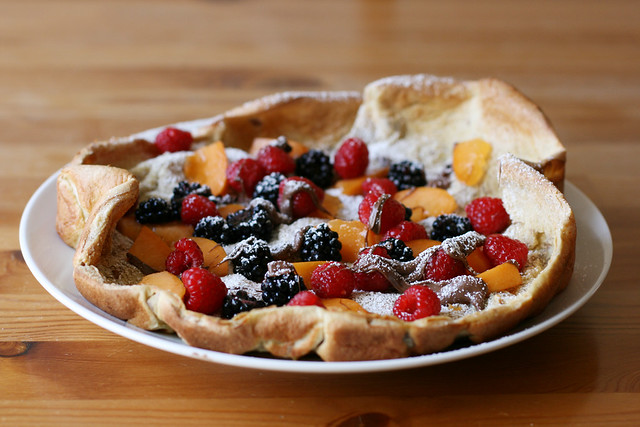 Dutch baby with summer fruit, pecans, and Nutella on alickofsalt.com