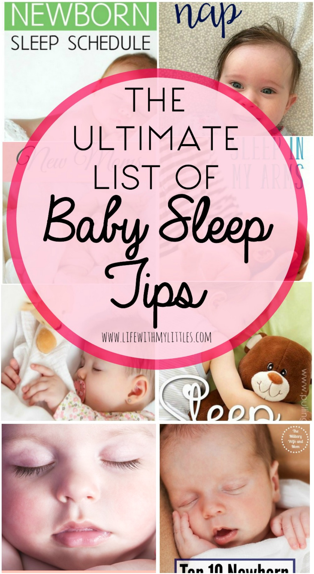 The ultimate list of baby sleep tips. This is a great roundup of the best posts all about how to help your baby sleep at night, during naps, and in their crib!